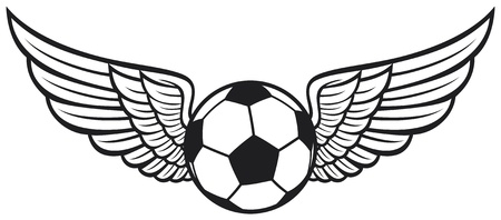 white fan: football ball with wings emblem  soccer emblem, football design  Illustration