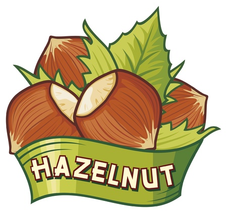 albero nocciola: nocciola nocciola simbolo etichetta, segno nocciola
