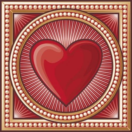 card suits: heart symbol  heart decorative card symbol, card suits symbol  Illustration