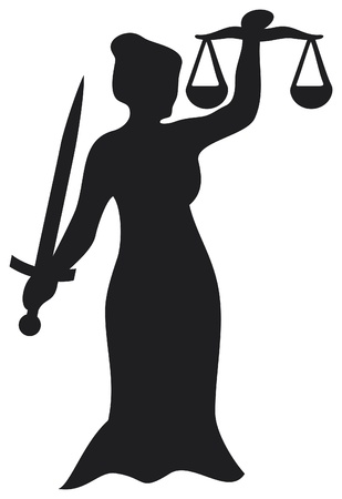 ruling: justice statue, lady justice  themis, femida - a goddess of justice  Illustration