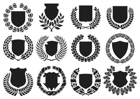 laurel leaf: escudos medievales y escudos corona de laurel de recolecci�n con el conjunto corona de laurel, escudos establecer