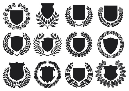 military silhouettes: medieval shields and laurel wreath collection  shields with laurel wreath set, shields set
