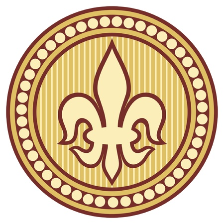 royal french lily symbols: lily flower - heraldic symbol fleur de lis  lily element, lily badge, lily symbol
