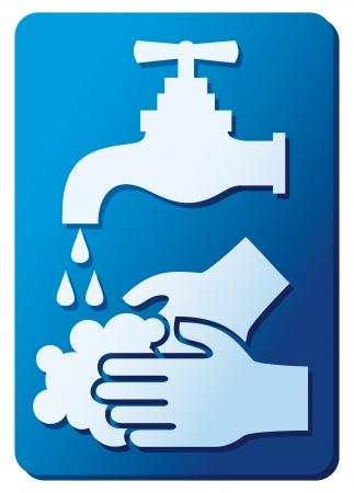 vieze handen: neem dan je handen wassen tekenen je handen wassen pictogram alsjeblieft je handen wassen symbool, kunt u uw handen wassen label Stock Illustratie