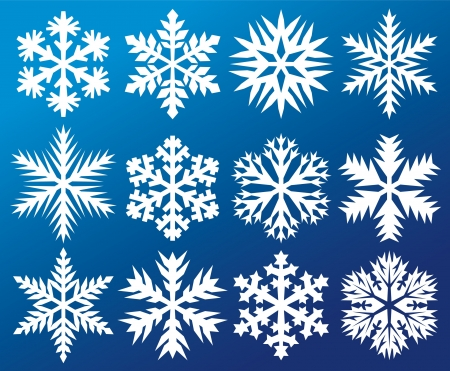 collection of snowflakes (decorative snowflake winter set, white snowflakes) Stock Vector - 15867543