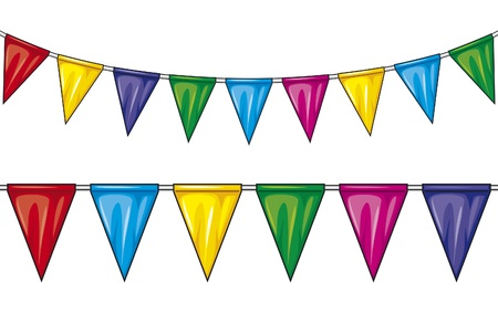 party flags  party pennant bunting, bunting flags  Vector