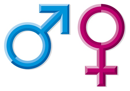 Male and female gender symbols  men and women signs, pink and blue male female  gender symbols, gender symbols Stock Vector - 15870983