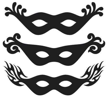 black  carnival masks  black masks for masquerade  Illustration