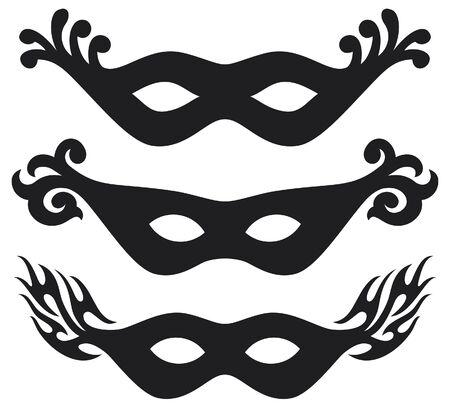 masquerade masks: black  carnival masks  black masks for masquerade  Illustration