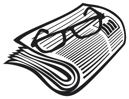 current events: newspaper icon and reading glasses