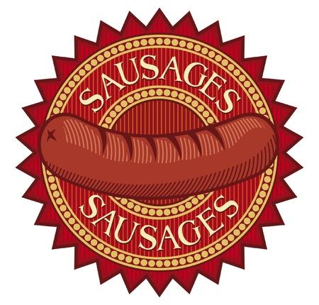 saucisses saucisse signe l'étiquette, symbole de la saucisse, saucisse de conception