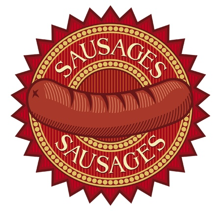 sausages label sausage sign, sausage symbol, sausage design