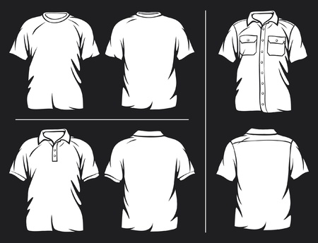 white t-shirt, short sleeve shirt and polo shirt Vector