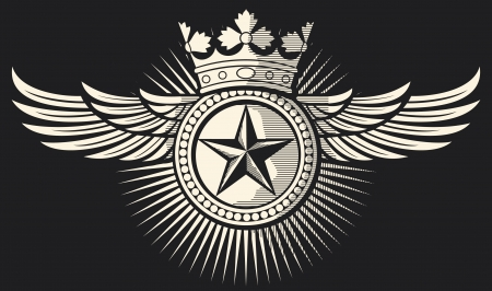 star, crown and wings tattoo  tattoo design, star badge, star symbol  Vector