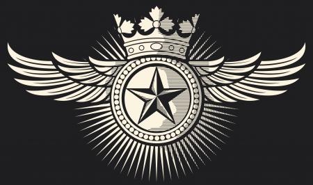 ali angelo: stella, corona e le ali tatuaggio disegno del tatuaggio, distintivo stella, simbolo stella