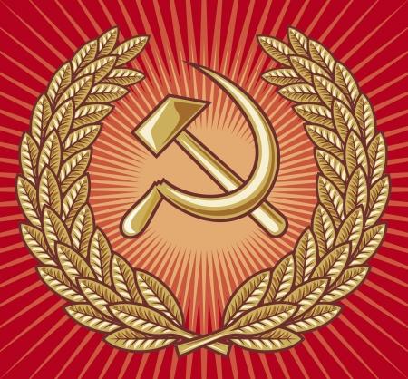 symbol of USSR - hammer, sickle and laurel wreath (ussr sign, soviet symbol) Stock Vector - 15867597
