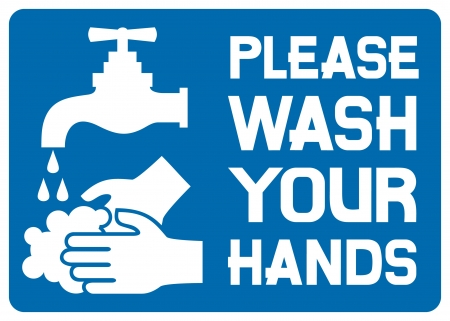 wash: please wash your hands sign (please wash your hands icon, please wash your hands symbol, please wash your hands label) Illustration