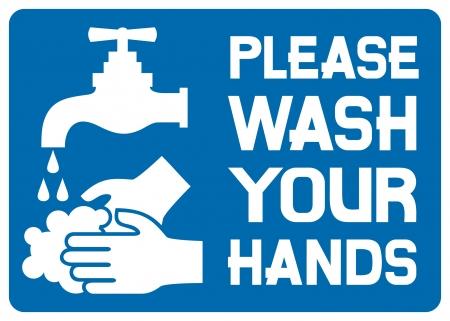 lavarse las manos: Por favor l�vese las manos signo (por favor, lavar el icono de las manos, por favor, lave el s�mbolo de las manos, por favor, lave la etiqueta de las manos) Vectores