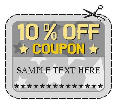 Coupon sale - 10    ten percent discount, discount label  Vector