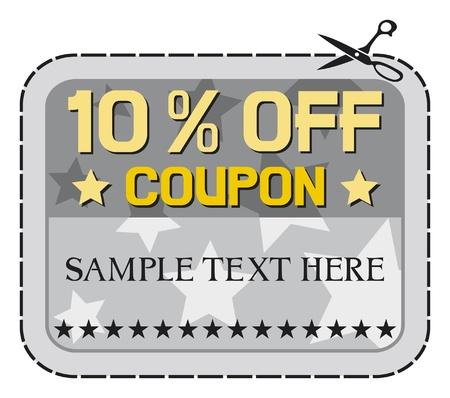 coupon: Coupon Verkauf - 10 zehn Prozent Rabatt, Rabatt-Label Illustration