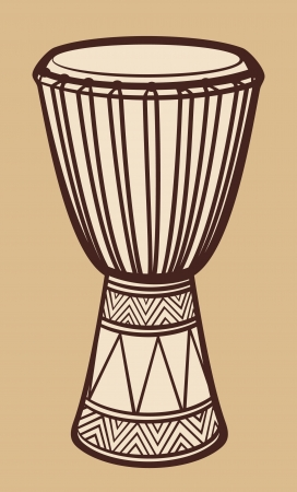 exoticism: African Drum  Music Instrument, Traditional African drum  Illustration