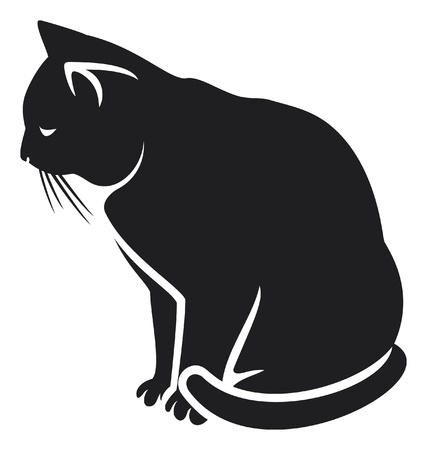 cat  illustration of a black cat  Vector