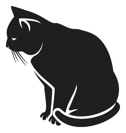 mammals: cat  illustration of a black cat