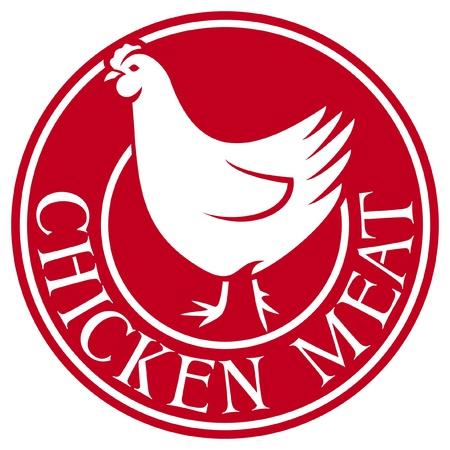 chicken dish: chicken meat label Illustration
