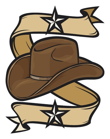 brown leather hat: cowboy hat design Illustration