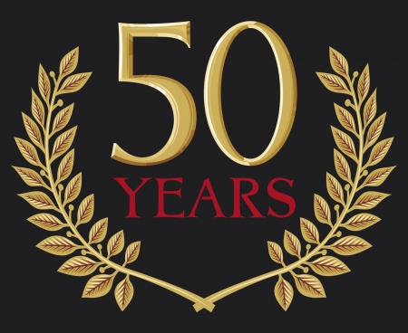 year curve: golden laurel wreath 50 years (50 years anniversary, jubilee)