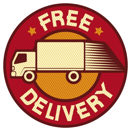 package delivery: free delivery truck (Free delivery icon, emblem, design, badge, delivery truck) Illustration
