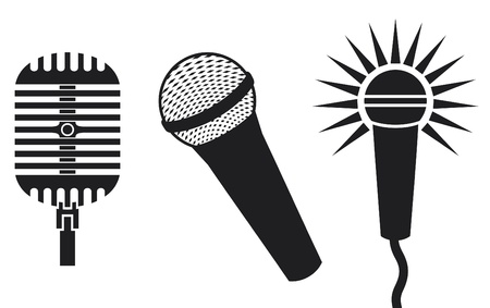 Classic Microphones Symbols (Microphones Icon, microphones set) Vector