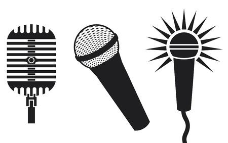 entertaining presentation: Classic Microphones Symbols (Microphones Icon, microphones set)