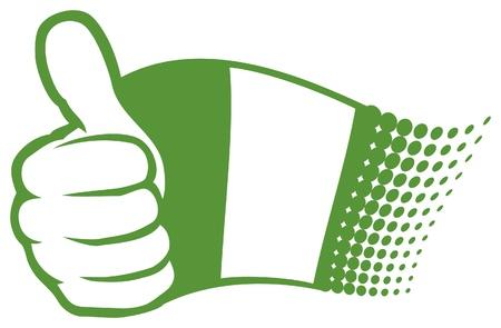daumen hoch: Flagge von Nigeria. Hand zeigt Daumen nach oben. Illustration