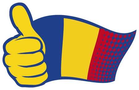 hand showing thumbs up: flag of romania. hand showing thumbs up.