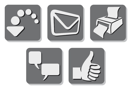 printer icon (print button), e-mail icon (mail button, send icon), thumb up icon (like button), download icon (download button), comment icon (comment button) Vector
