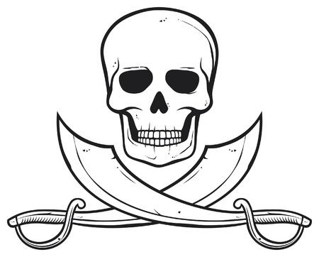 drapeau pirate: Pirate crâne (crâne et os croisés sabres) Illustration