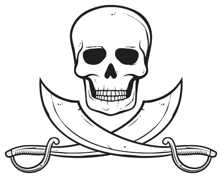 Pirate skull (skull and crossed sabers) Vector