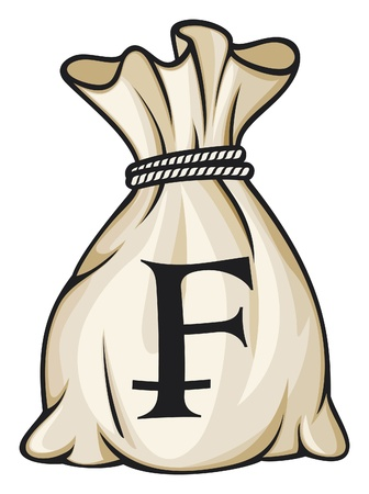 frank szwajcarski: Money Bag ze szwajcarskiego franka Symbol Ilustracja