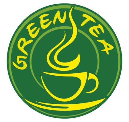 green tea label (label for green tea) Vector