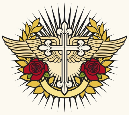 illustration of christian cross, wings, roses and laurel wreath Vector