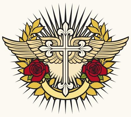 ilustración de la cruz cristiana, alas, corona de laurel y rosas Ilustración de vector