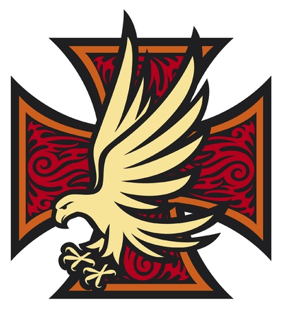 bird  celtic: iron cross in tattoo style and eagle  tribal style, cross and eagle