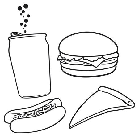 hot dog label fast food hamburger pizza hot dog juice illustration