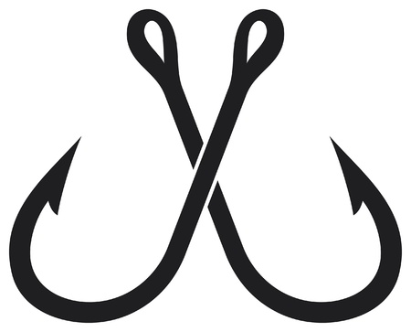 рыбаки: два скрещенных рыболовный крючок Иллюстрация