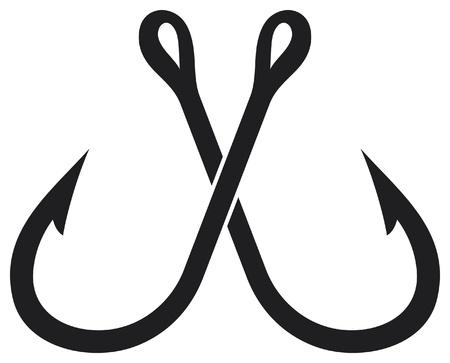 deux crochets de pêche croisé Vecteurs
