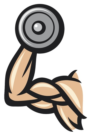 muscle training: hand with dumbbells  hand lifting weight, fitness icon  Illustration