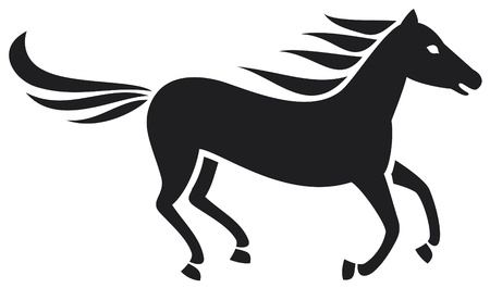 mustang: running horse silhouette Illustration