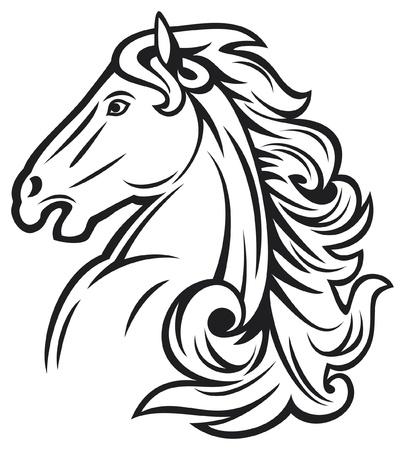 paardenhoofd: paardenhoofd mustang hoofd, mooi paard Stock Illustratie