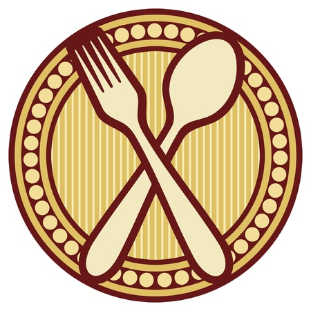 place setting: crossed fork and spoon design  crossed fork and spoon symbol, badge  Illustration